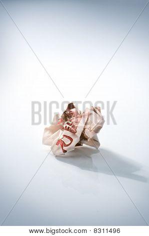 Crumpled euro bill
