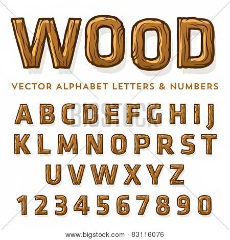 Vector set of wooden latin letters and numbers