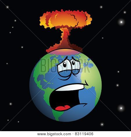 A nuclear weapon exploding on cartoon Earth, forming a mushroom cloud. poster