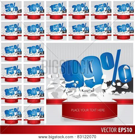 Blue Collection Discount  5  10 15 20 25 30 35 40 45 50 55 60 65 70 75 80 85 90 95 99  Percent  On V