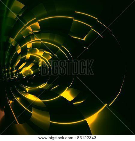 Green abstract futuristic tunnel background. Modern sci fi illustration. Digital artwork.