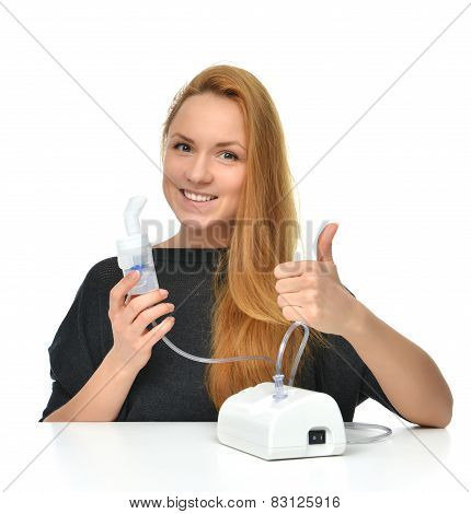 Young Woman Using Nebulizer For Respiratory Inhaler Asthma Treatment I