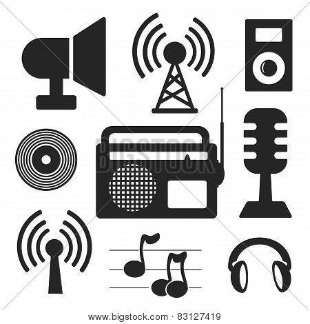 Set Of Music And Wireless Web And Mobile Logo Icons