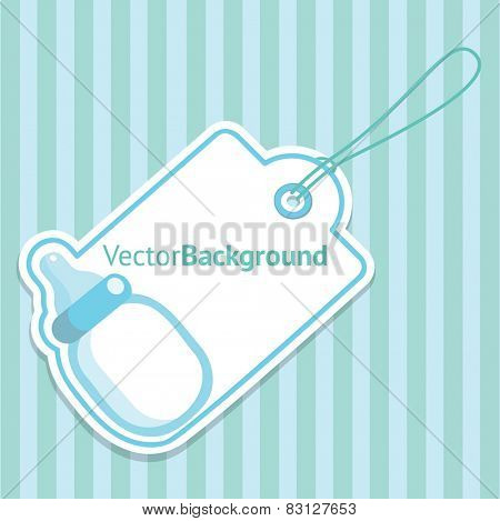 Baby Shower greeting Card for Boy with Baby Bottle. Vector Background Illustration.