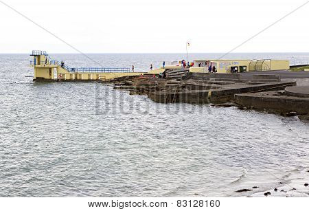 Pier for swimming in the cold Atlantic Ocean.