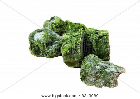 Frozen Spinach Isolated on White
