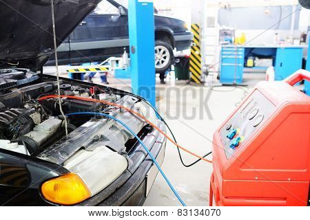 Car battery charging, service station
