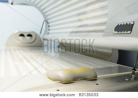 Tanning bed in a salon poster