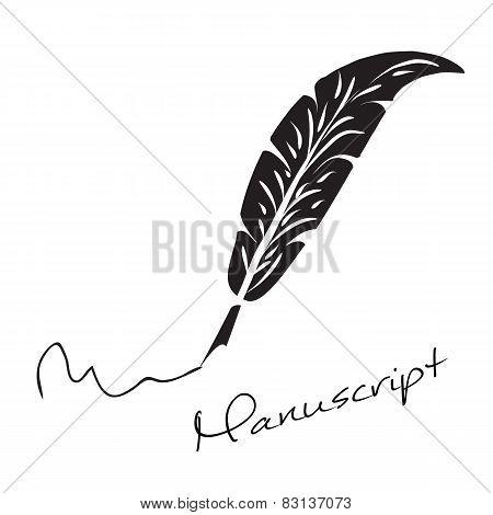 Vector manuscript. Bird feather. Format eps 10