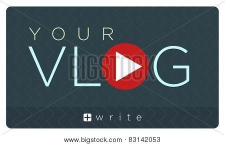 Vector illustration of vlog banner, video blogging