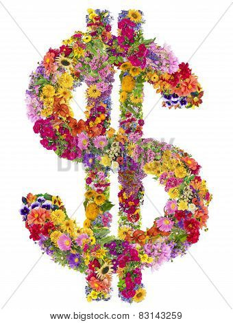 Dollar Sign From  Summer Flowers