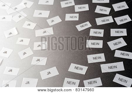 "decision ""ja"" ""nein"" (yes no in english) poster"