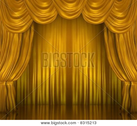 Gold Theatrical Curtains