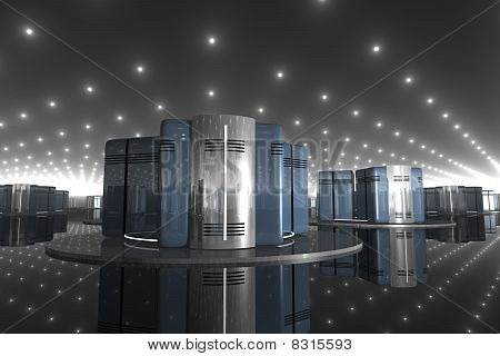 3D Computer Server in a Hi-Tech Room