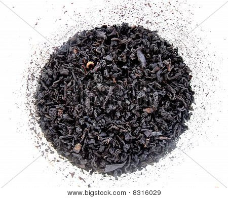 dry tea leaves in a circle on a white background poster