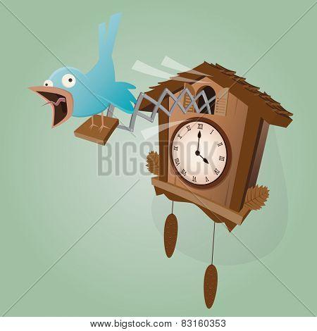 funny cuckoo clock illustration