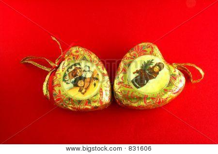 vintage christmas hearts