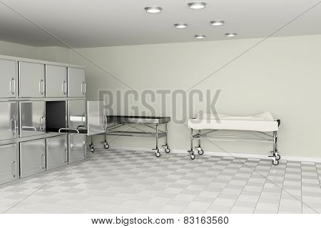 3d rendering of a macabre autopsy room poster