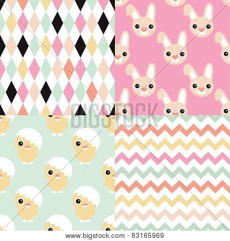 Seamless easter bunny and chicken geometric chevron and abstract background pattern set in vector