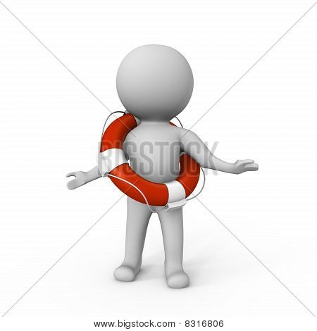 Human with a life buoy - a 3d image