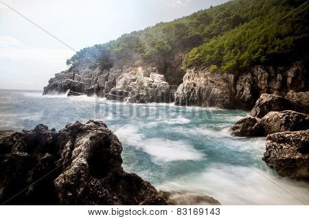 Mediterranean rocky shores and landscape - Odysseus cave on island Mljet near Dubrovnik
