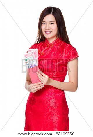 Chinese young woman hold red pocket with RMB