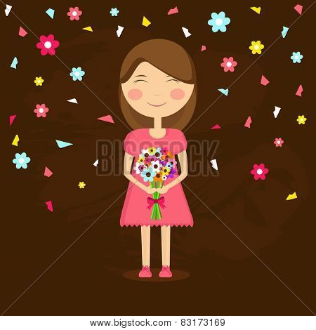 Cute little girl holding a flower bouquet on floral decorated brown background, International Women's Day celebrations concept.