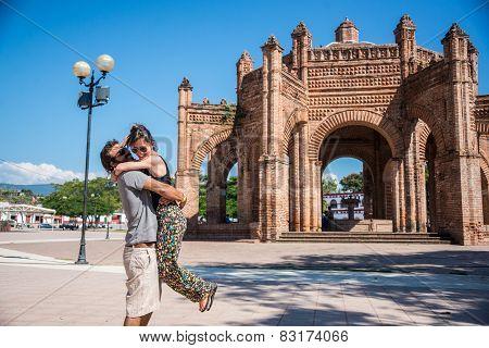 Couple In Love At Chiapa De Corzo Town, Traveling Mexico.
