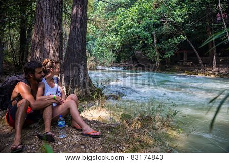 Young Couple Looking At The River, Misol Ha, Mexico. Near San Cristobal. Chiapas Adventure.