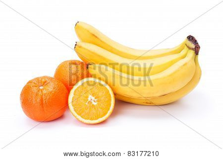 Bunch Of Ripe Bananas And Oranges