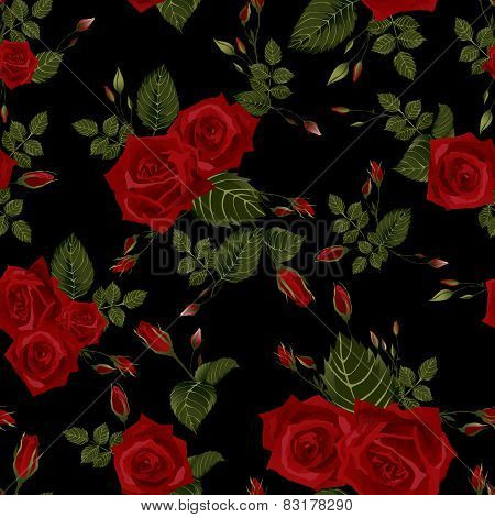 Vector Seamless Floral Pattern With Red Roses