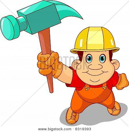 Working man is raising a hand hammer