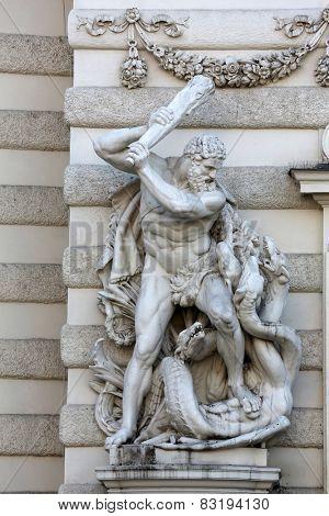VIENNA, AUSTRIA - OCTOBER 10: Hercules fighting the Hydra, Hofburg, Vienna in Vienna, Austria on October 10, 2014.