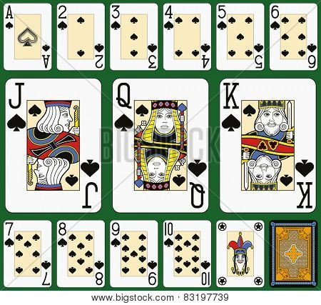 Playing cards, spades suite, joker and back. Faces double sized. Green background.