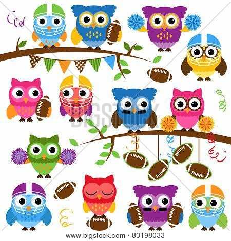 Vector Collection of Cute Football or Sports Themed Owls