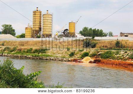 Eco disaster polluting the river. River Vardar Skopje Macedonia poster