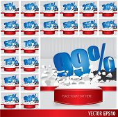 Blue collection discount 5 10 15 20 25 30 35 40 45 50 55 60 65 70 75 80 85 90 95 99 percent on vector cracked ground on white background poster