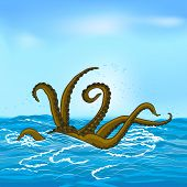 mythological kraken tentacles with the sea and sky poster