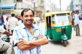 Indian auto rickshaw three-weeler tuk-tuk taxi driver man poster