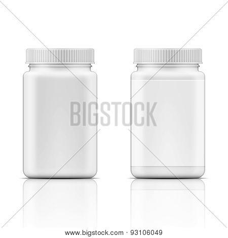 White square plastic bottle for pills.