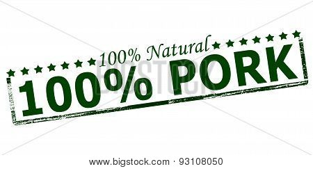 Rubber stamp with text one hundred percent natural pork inside vector illustration