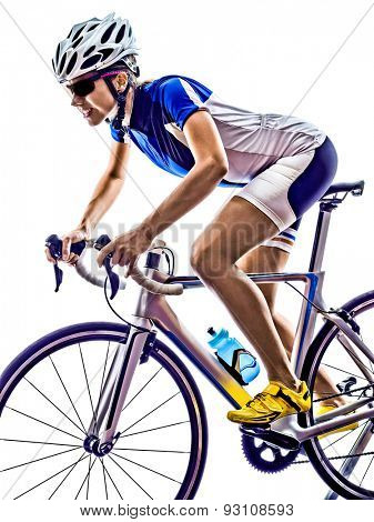 woman triathlon ironman athlete  cyclist cycling on white background poster