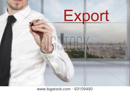 Businessman Writing Export In The Air