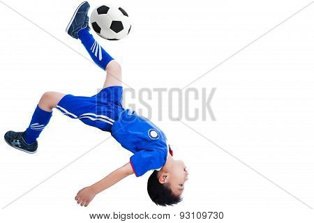 Youth asian (thai) soccer player in blue uniform shooting performing a bicycle kick Isolated on white background poster