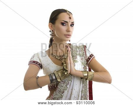 Beautiful Young Indian Woman in Traditional Clothing with Bridal Makeup and Oriental Jewelry. Namaste: Beautiful Girl Bollywood dancer (Bellydancer) in Sari. Eastern fairy tale poster