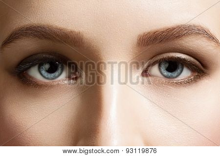 Close-up Of Make-up Beautiful Blue Eyes Woman