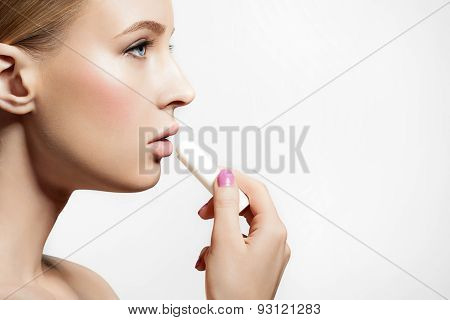Girl Healthy Skin Applying Protective Lip Balm