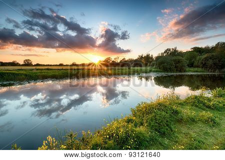 Sunset Over The River Stour