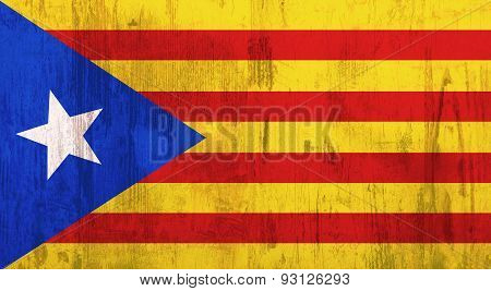 3d rendering of an old and dirty catalonia flag poster