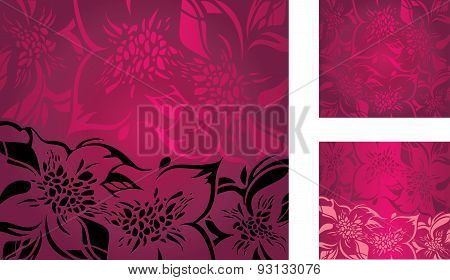 Red floral decorative holiday background set